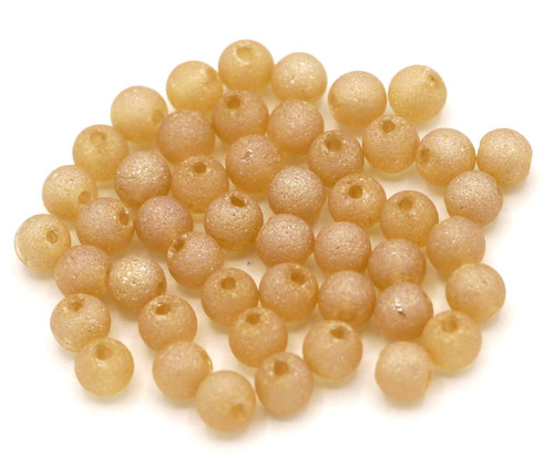 48pc 4mm Textured Frosted Glass Beads, Silk AB