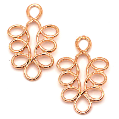 2pc 36x23mm Looped Leaf Chandelier Components, Rose Gold Finish