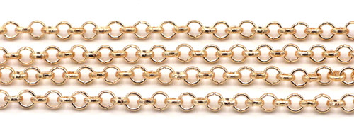 1 Meter 3mm Steel Rolo Jewelry Chain, Rose Gold Finish