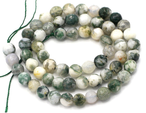 """15"""" Strand 6mm Faceted Tree Agate Round Beads"""