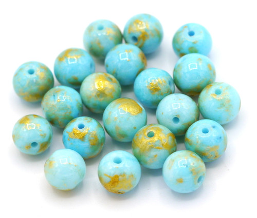 20pc 8mm Mountain Jade Beads, Light Turquoise & Gold