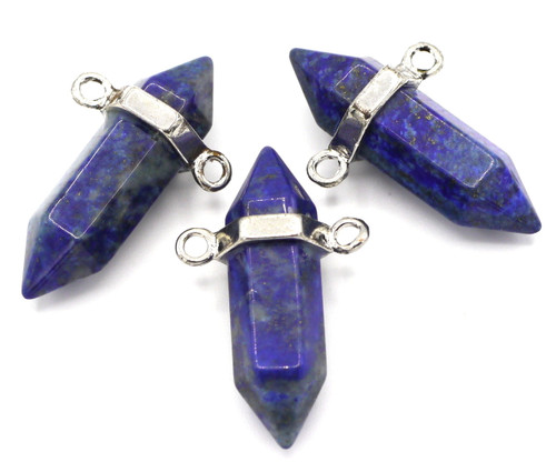 1pc Approx 32mm Lapis Lazuli Point Pendant with 2-Loop Silver Bail