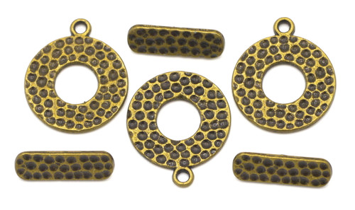 3 Sets 19.5mm Hammered-Style Toggle Clasps, Antique Bronze Finish
