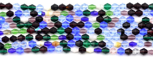 75pc 5mm Czech Glass Fire Polished Bicone Beads, Multicolor Mix