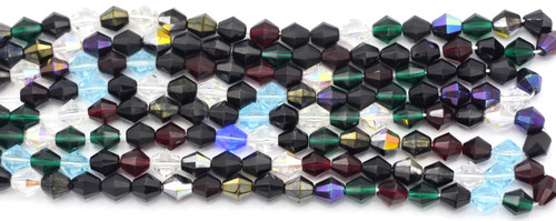 40pc 9mm Czech Glass Fire Polished Bicone Beads, Multicolor Mix