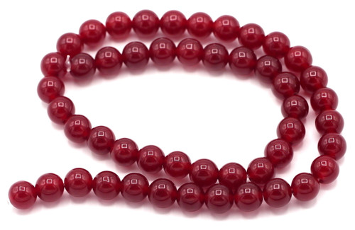 "15"" Strand 8mm Quartz Round Beads, Cranberry"
