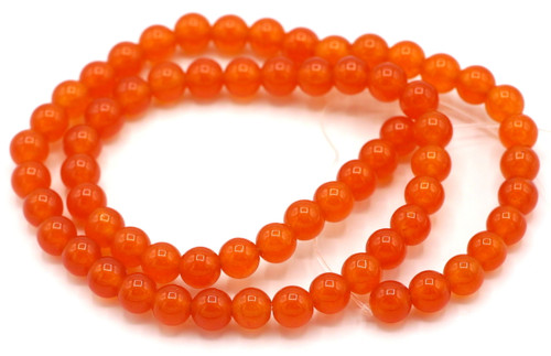"15"" Strand 6mm Quartz Round Beads, Deep Orange"