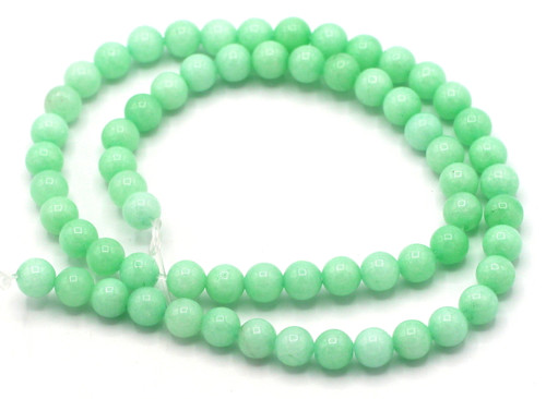 "15"" Strand 6mm Quartz Round Beads, Mint Green"