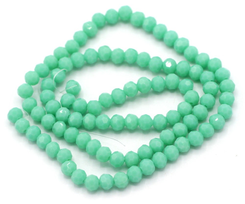 Approx 100pc 4mm Faceted Round Crystal Beads, Turquoise Green