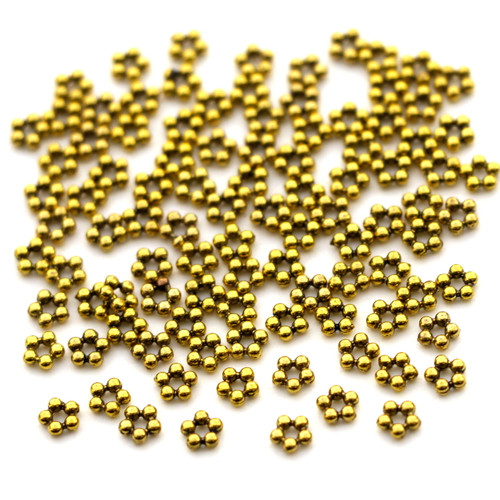 100pc 4mm 5-Point Dotted Flower Spacer Beads, Antique Goldtone