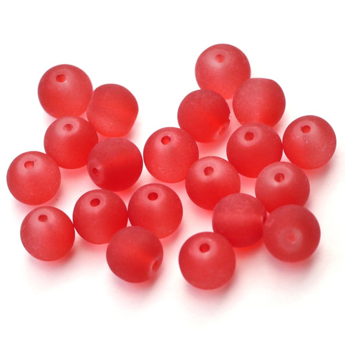 20pc 8mm Round Glass Beads, Frosted Red
