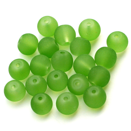 20pc 6mm Round Frosted Glass Beads, Olive Green