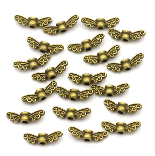 20pc 4x14mm Wing Beads, Antique Brass