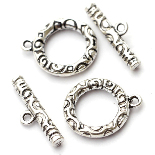 2 Sets 20x22mm Curlicue Toggle Clasps, Antique Silvertone