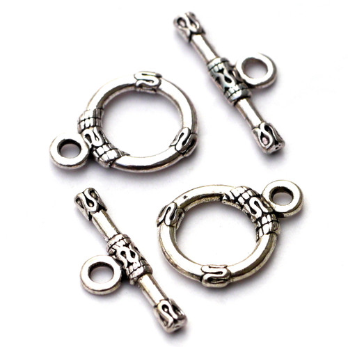 2 Sets 17x21mm Swirl-Embellished Toggle Clasp, Antique Silvertone