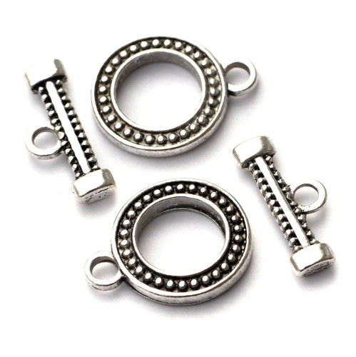 2 Sets 19x18mm Dotted Toggle Clasps, Antique Silvertone