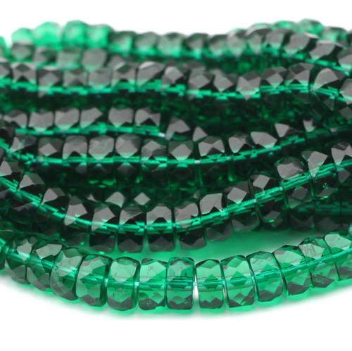 8mm Fire Polished Czech Glass Disc Beads, Light Emerald