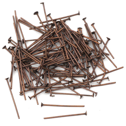 21mm 21-Gauge Headpins, Antique Copper Finish (Approx 110pc)