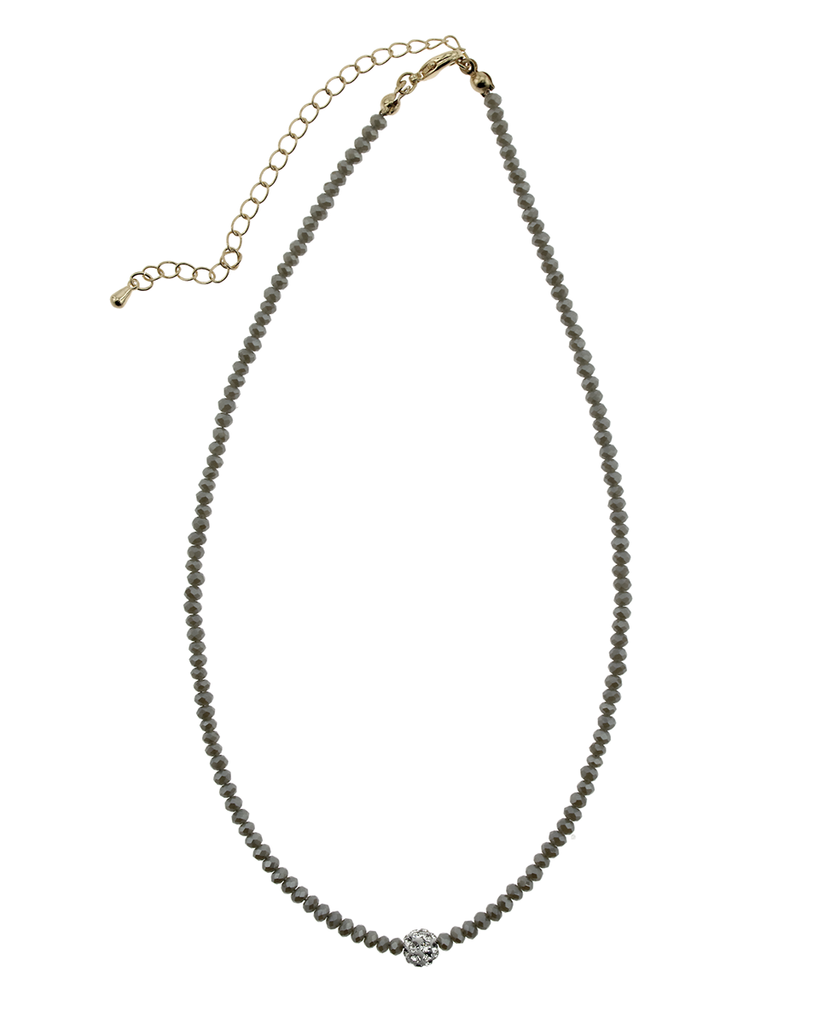 """16"""" CRYSTAL & PAVE BALL NECKLACE - GREY"""