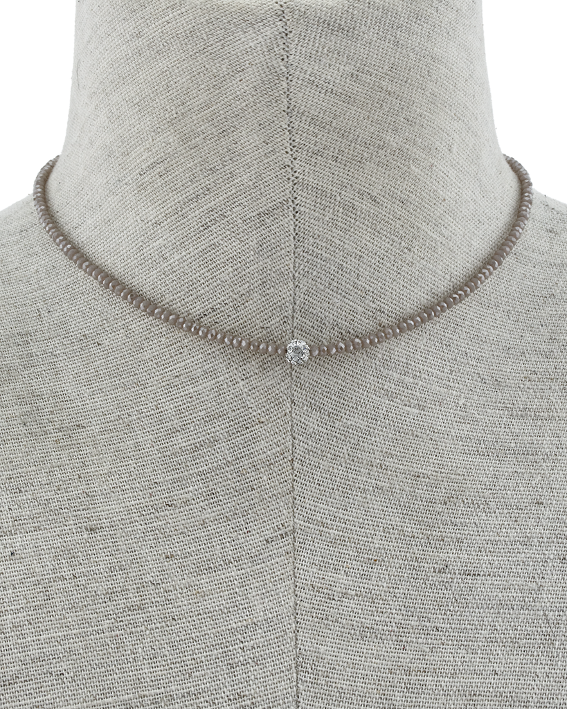 "16"" CRYSTAL & PAVE BALL NECKLACE - TAUPE"