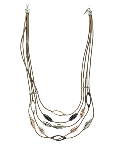 5 ROW LEATHER& METAL OVALS- SHORT NECKLACE