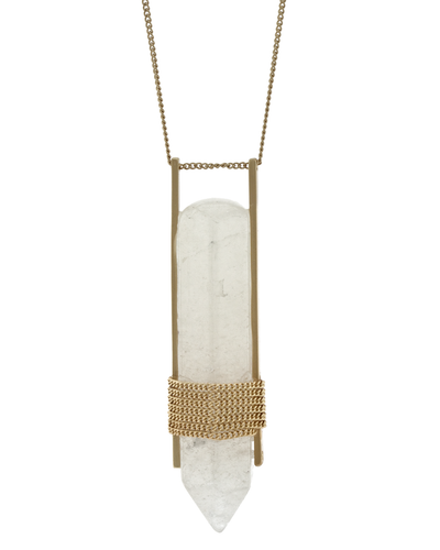 CHAIN WRAPPED QUARTZ PENDANT NECKLACE