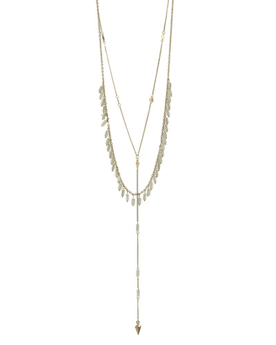 2 LAYER- CRYSTAL BEADS- DAINTY CHAIN NECKLACE - NATURAL