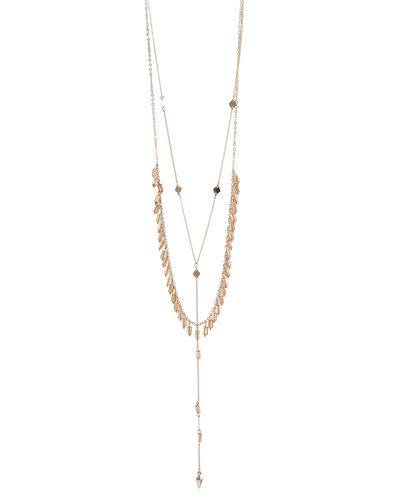 2 LAYER- CRYSTAL BEADS- DAINTY CHAIN NECKLACE - PEACH