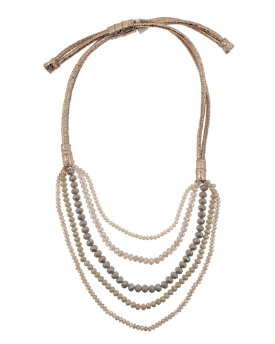 CRYSTAL & METALLIC LEATHER STATEMENT PULL TIE NECKLACE- ROSE GOLD