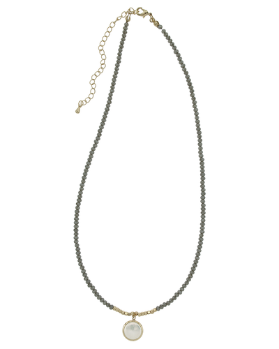 "16"" CRYSTAL & PEARL DROP NECKLACE - GREY"