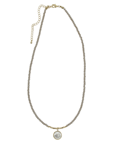 "16"" CRYSTAL & PEARL DROP NECKLACE - TAUPE"