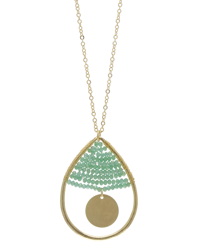 MINI CRYSTAL BEADED TEARDROP NECKLACE - MINT