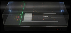 """JC WINGS RUNWAY DISPLAY CASE WITH LED """"RWY 07R""""  SCALE 1/500 JCLH5002"""