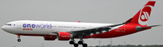 JC WINGS AIR BERLIN AIRBUS A330-200 REG: D-ABXA ONEWORLD LIVERY WITH STAND SCALE 1/200 JC2197