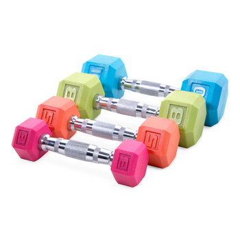 Multiple colors and sizes of CAP PVC Coated Color Hex Dumbbell