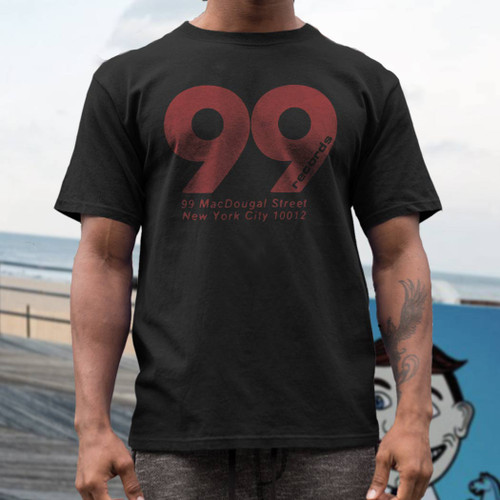 99 Records   short sleeve  t shirt on black tee