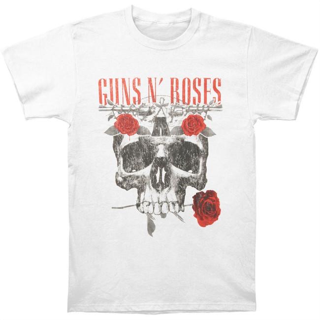 Guns N Roses Flower Skull Vintage-Style T-Shirt