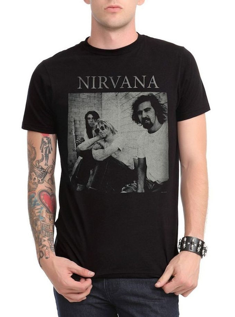 Nirvana Black and White Sitting Photo T-Shirt