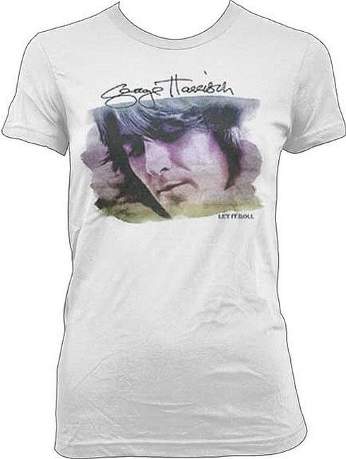 The Beatles George Harrison Watercolor Portrait Junior Women's T-Shirt