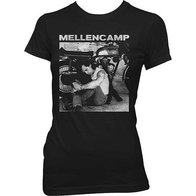 John Mellencamp Sitting Photo with Bike Junior Women's T-Shirt