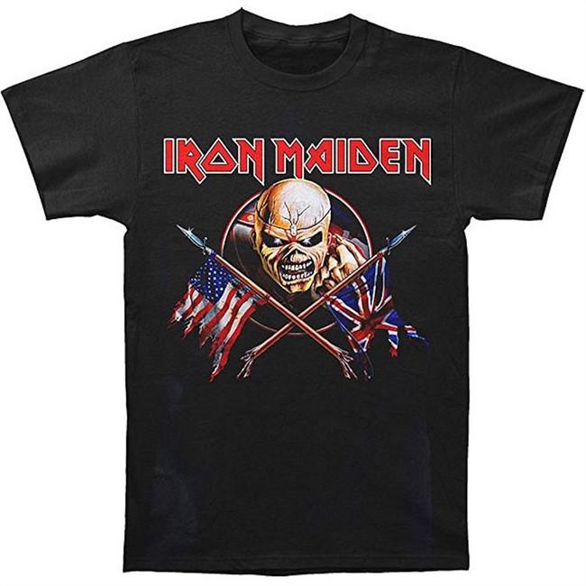 Iron Maiden Crossed Flags Men's Black T-Shirt