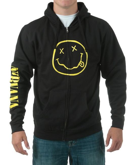Nirvana - Smile Zip Hoodie Sweatshirt