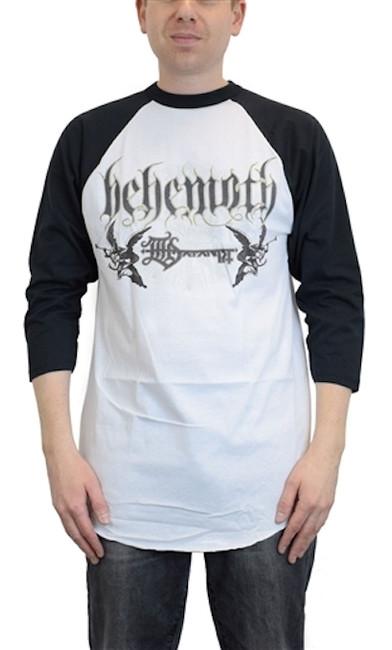 Behemoth Logo White Black Raglan Long Sleeve T-Shirt