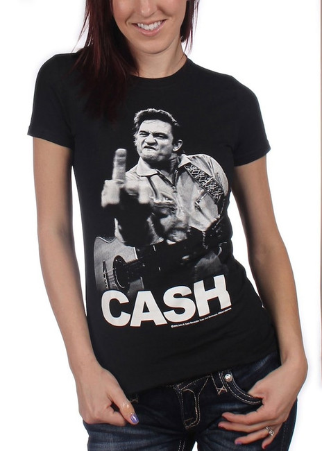 Johnny Cash Flippin Junior Women's T-Shirt