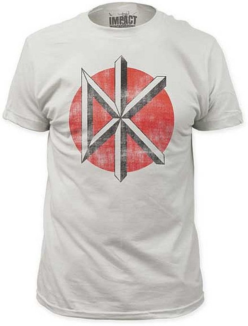 Dead Kennedys Distressed Logo White Fitted T-Shirt