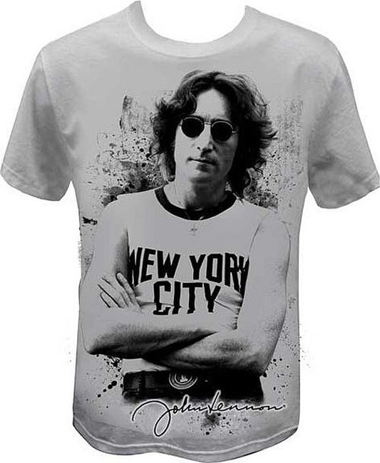 John Lennon New York Silver T-Shirt Beatles