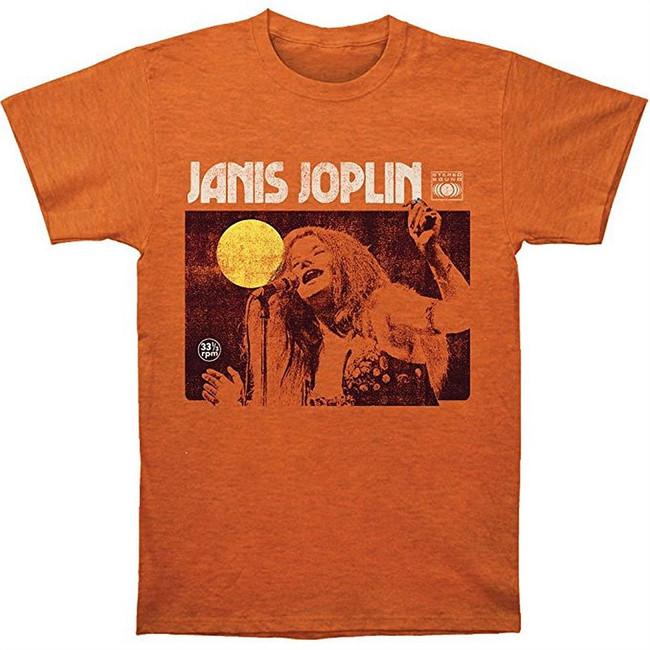 Janis Joplin Singing Men's Fitted Jersey T-Shirt