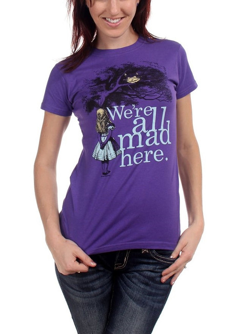 Alice In Wonderland We're All Mad Here Junior Girlie T-Shirt