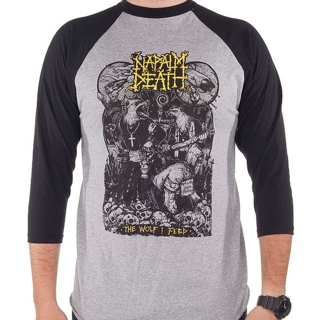 Napalm Death Wolf I Feed Raglan Baseball T-Shirt