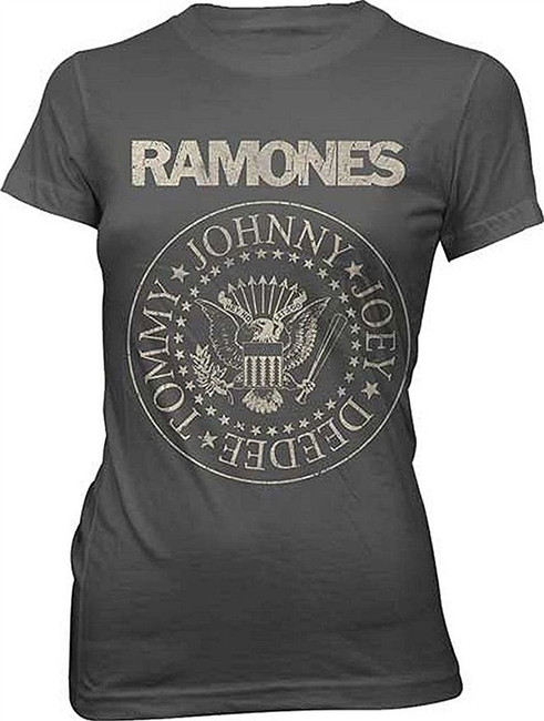Ramones Distressed Seal Junior Women's Charcoal T-Shirt